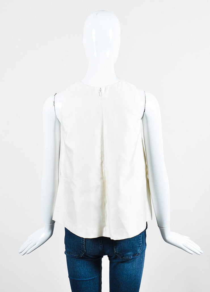 White, Blue, and Black Lela Rose Wool and Silk Embellished Trapeze Shell Top Backview
