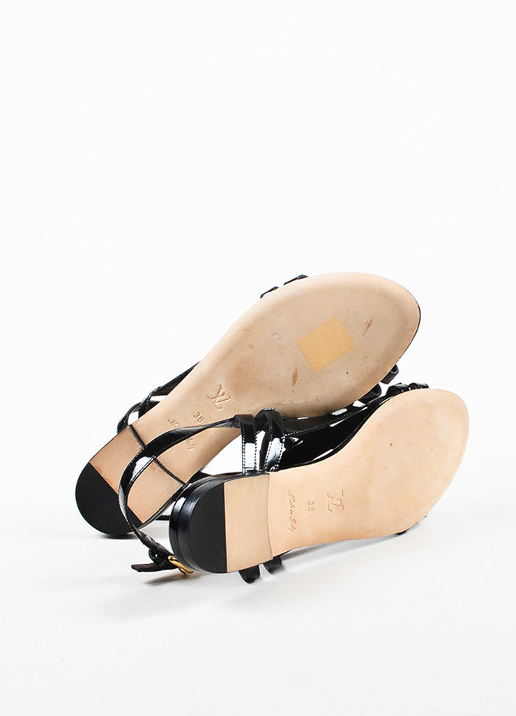Louis Vuitton Black Patent Leather 'LV' Strappy Slingback Flat Sandals Outsoles