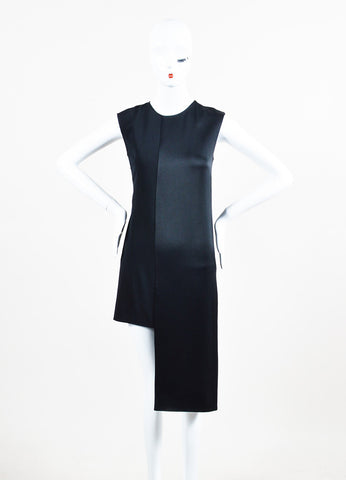 Maison Martin Margiela Black Mixed Media Asymmetric Sleeveless Scoop Neck Dress Frontview
