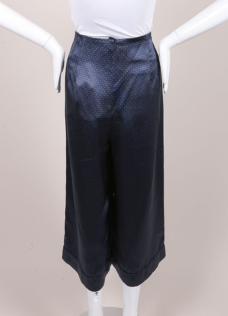 Marc Jacobs New With Tags Navy Blue Silk Printed Crop Gaucho Culotte Pants Backview