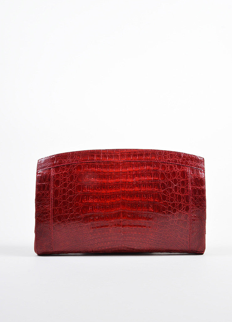 Deep Red Nancy Gonzalez Crocodile Patent Large Frame Clutch Bag Frontview