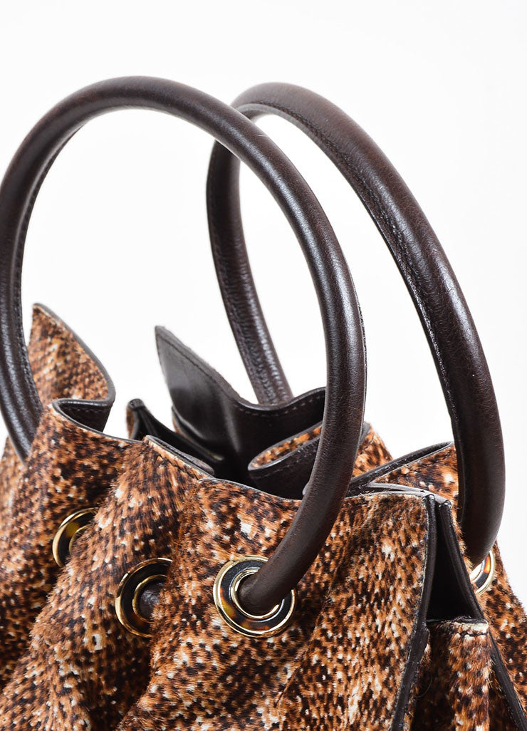 Tan and Brown Oscar de la Renta Pony Hair and Leather Ruched Structured Frame Handbag Detail 2