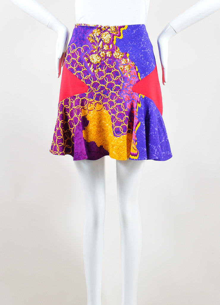 Peter Pilotto Multicolor Psychedelic Print Flare Mini Skirt Frontview