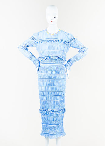 "Peter Pilotto Blue and White Ruffled Long Sleeve ""Atmos"" Maxi Dress Frontview"