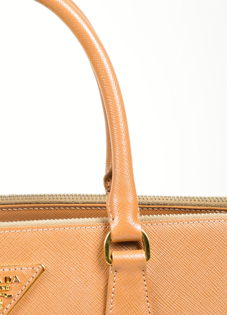 "Tan Prada Saffiano Leather ""Gardener's"" Tote Bag Detail 2"