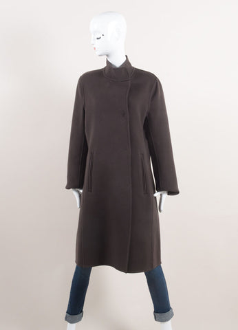 Rene Lezard New With Tags Brown Wool and Cashmere Blend Double Faced Coat Frontview
