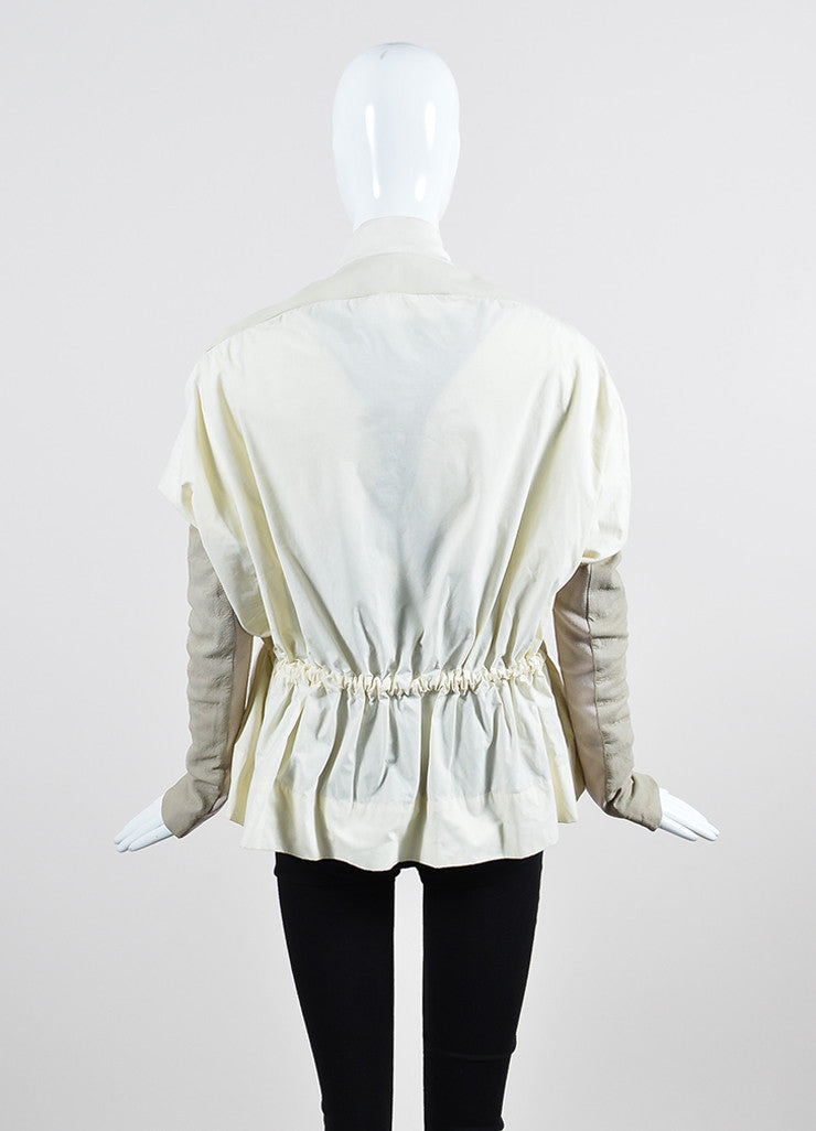Cream and Taupe Rick Owens Mixed Media Leather Detail Lightweight Jacket Backview