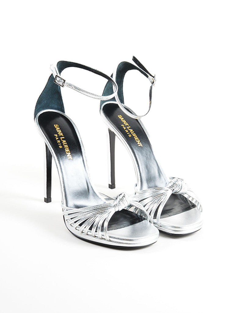 Saint Laurent Silver Leather Knotted High Heel Sandals Frontview