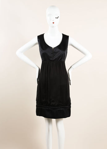 Stella McCartney Black Silk Empire Waist Gathered Sleeveless Dress Frontview