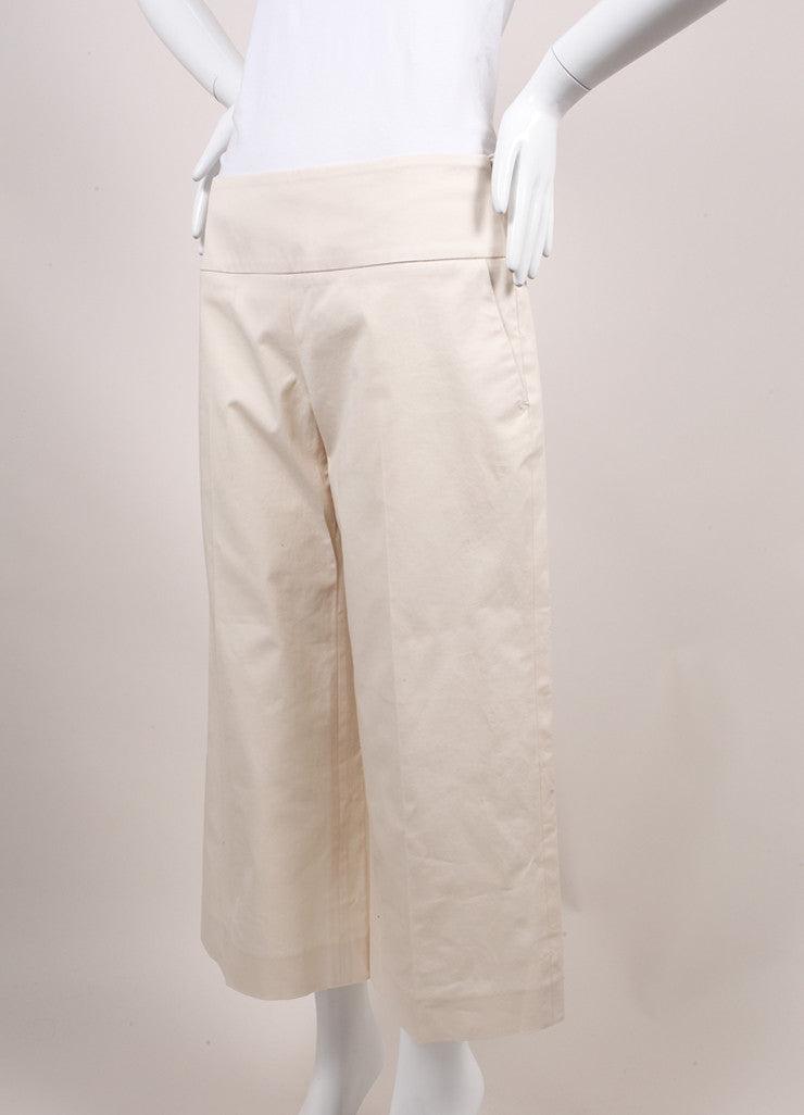 "The Row New With Tags Cream Stretch Cotton Twill Cropped Wide Leg ""Crosha"" Pants Sideview"
