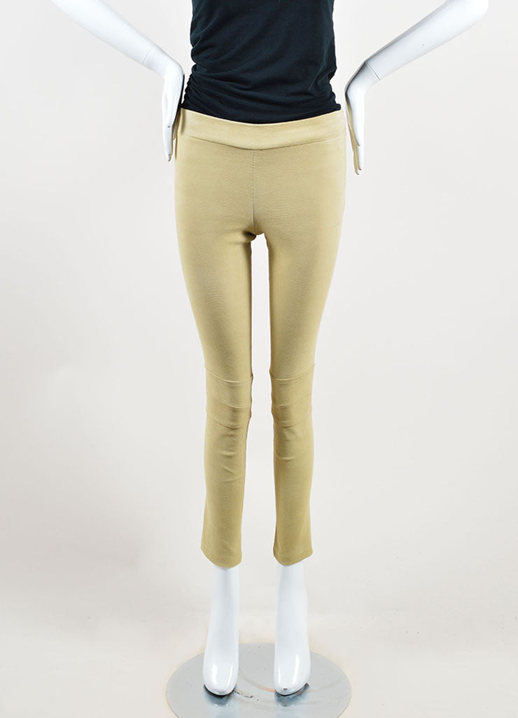 The Row Tan Lizard Embossed Suede Skinny Legging Pants Frontview