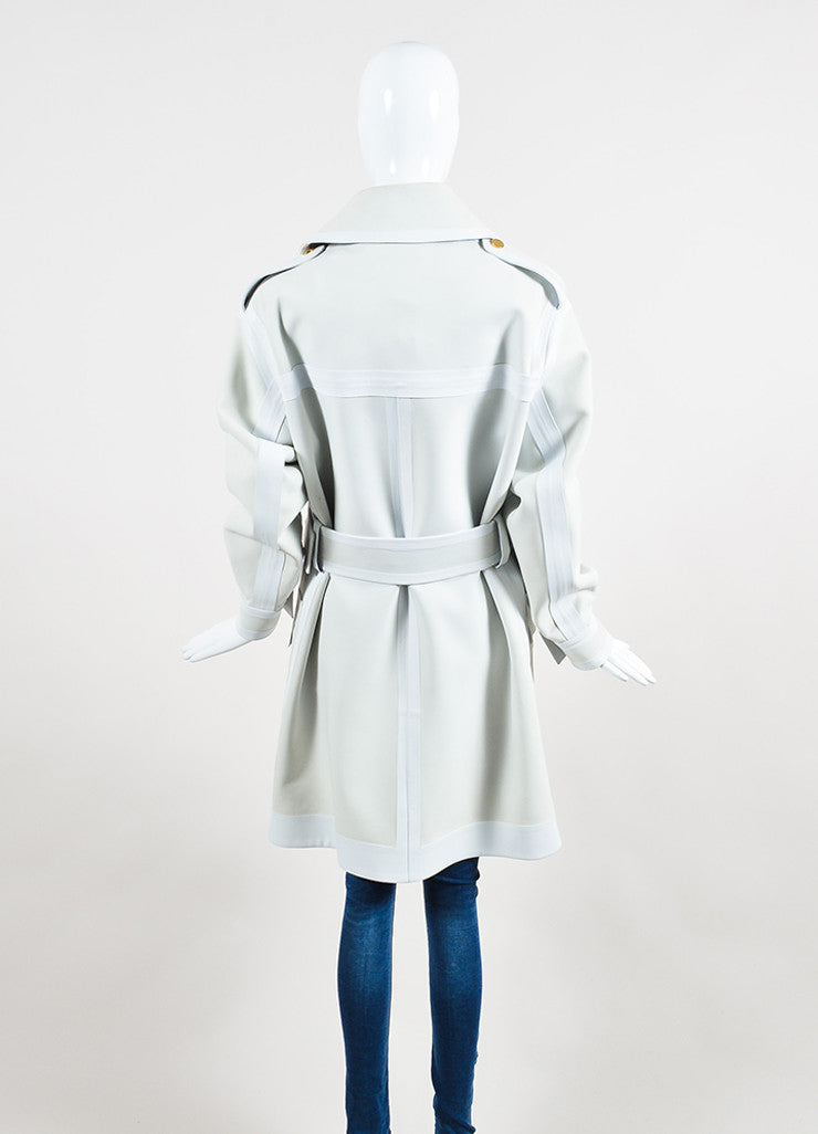 Off White and Grey Tom Ford Calf and Lamb Leather Long Belted Trench Coat Backview