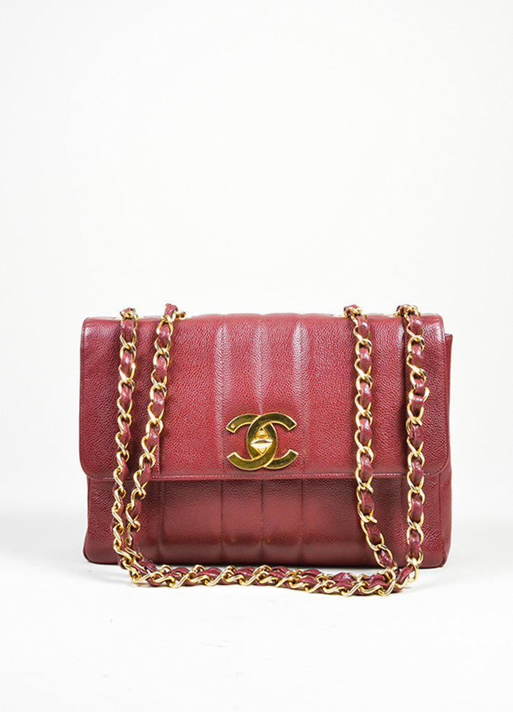 Maroon Chanel Caviar Leather Turnlock Jumbo Flap Bag Front