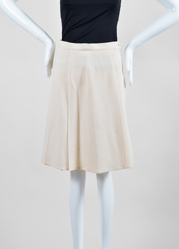 Cream Chanel Wool Flyaway Pleated Skirt Frontview