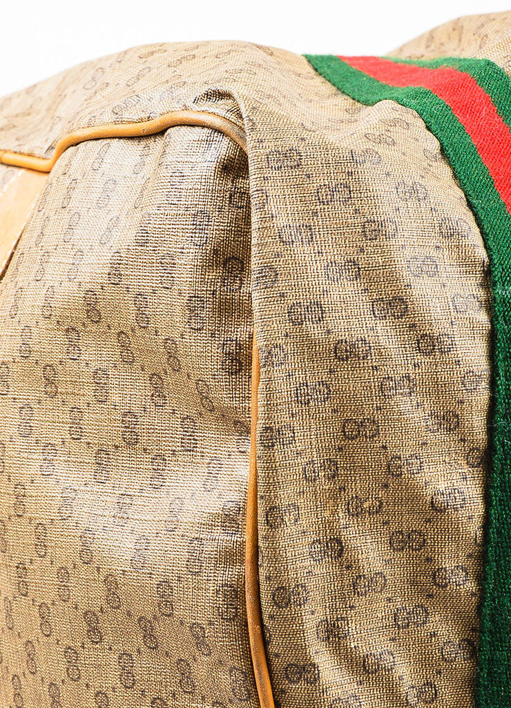 Gucci Brown Coated Canvas Leather Trim 'GG' Monogram Striped Duffel Bag Detail