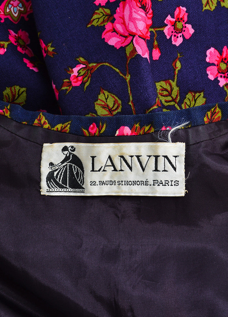 Lanvin Navy and Pink Rose Print Kimono Jacket Brand