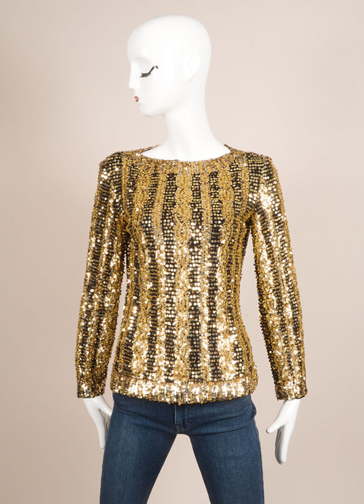 Victoria Royal Ltd. Gold and Black Sequin and Bead Embellished Long Sleeve Top Frontview