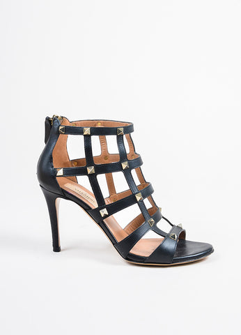 "Valentino Black Leather Gold Toned Stud Caged High Heel ""Rockstud"" Sandals Sideview"