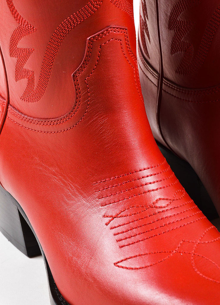 Red Leather Valentino Top Stitch Western Pointed Booties Detail