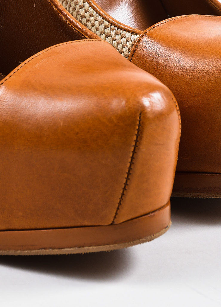 "Yves Saint Laurent ""Natural"" Tan Leather and Linen ""Tribtoo"" High Heel Pumps Detail"