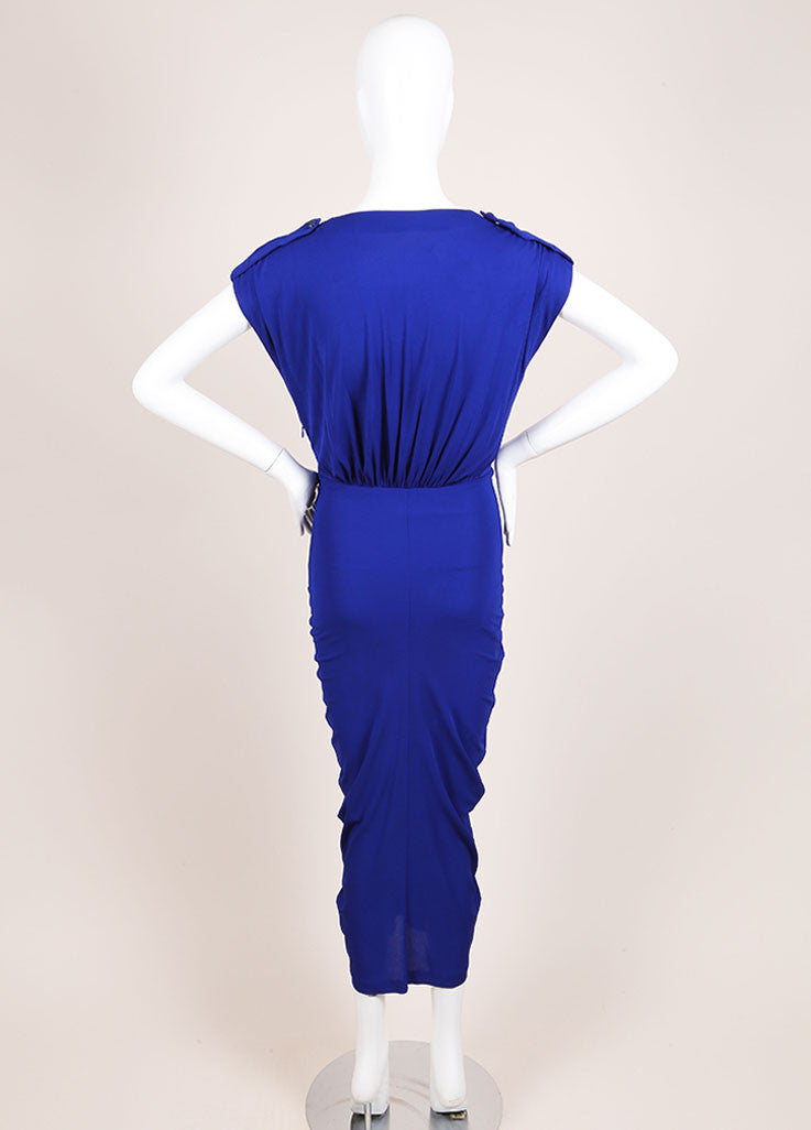 Alexander McQueen Royal Blue Ruched Sleeveless Dress Backview