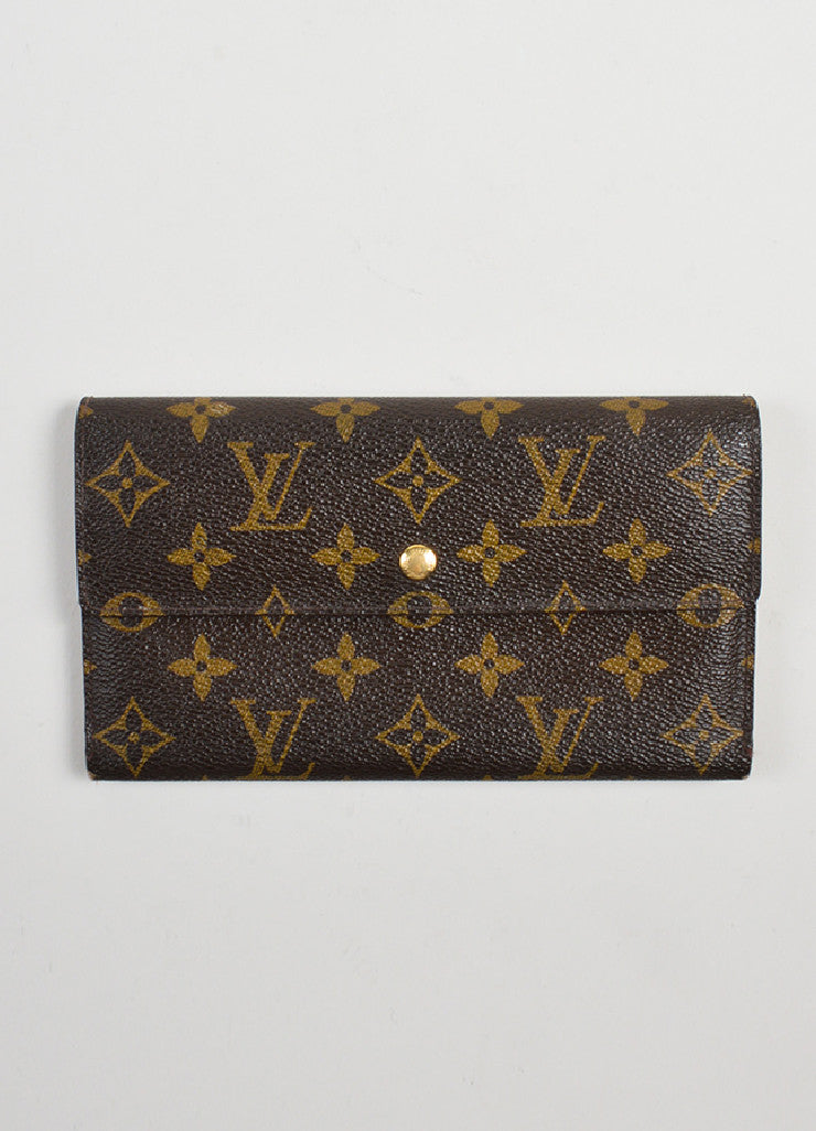 "Brown and Tan Louis Vuitton Monogram ""Porte-tresor International"" Long Wallet Frontview"