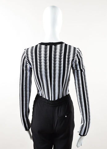Alaia Black and White Wool Blend Printed Long Sleeve Bodysuit Backview