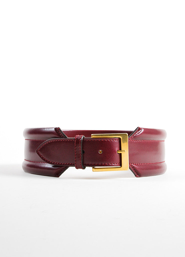 Alexander McQueen Oxblood Red Leather Traditional Wide Belt Frontview