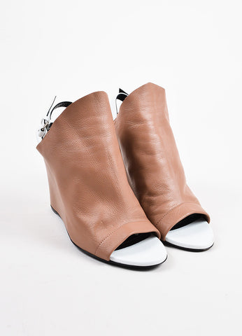 Balenciaga Tan White Leather Open Toe Slingback Wedges Front