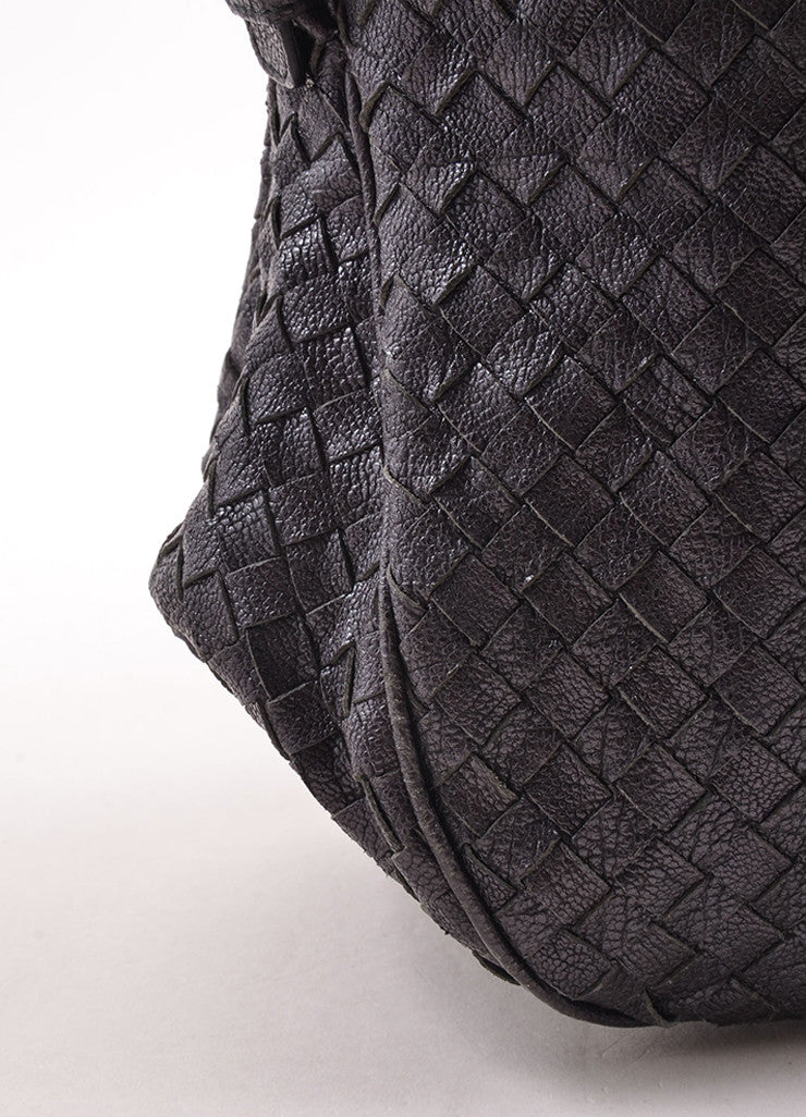 Bottega Veneta Black Woven Leather Square Tote Bag Detail 1