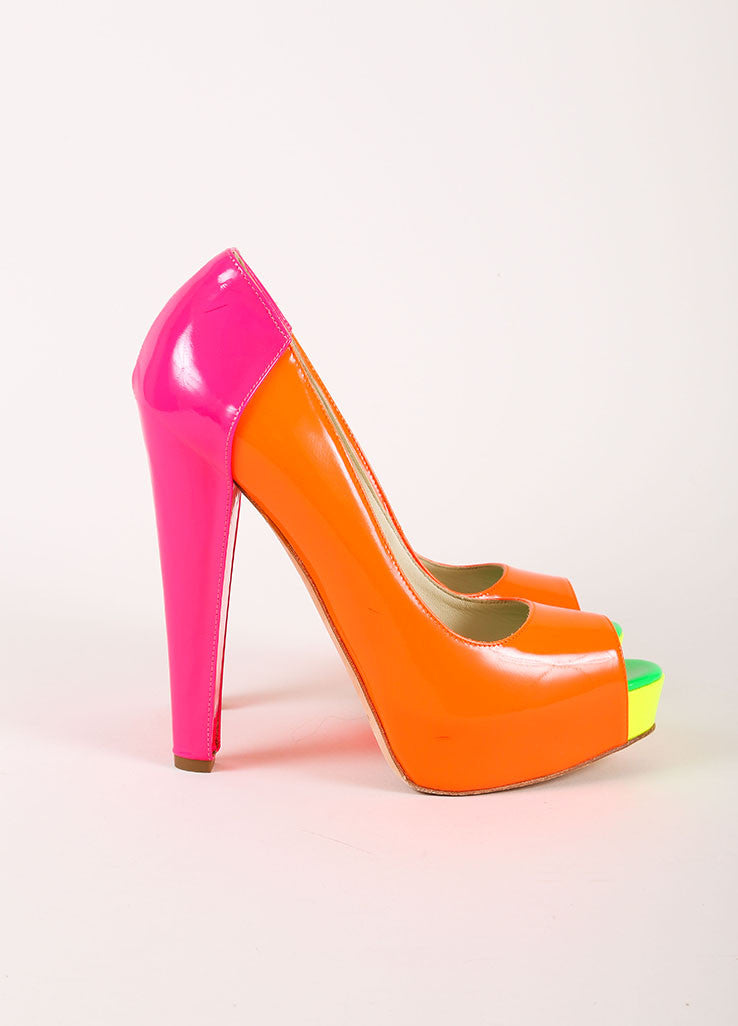 Brian Atwood Neon Patent Leather Color Block Peep Toe Platform Pumps Sideview