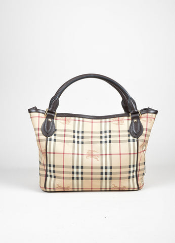 Brown and Tan Burberry Haymarket Plaid Leather Large Open Top Tote Bag Frontview