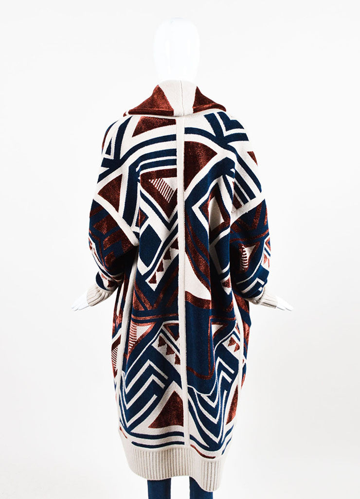•ÈÀBurberry Prorsum Beige, Navy, and Red Wool Blend Geometric Print Sweater Coat  Backview