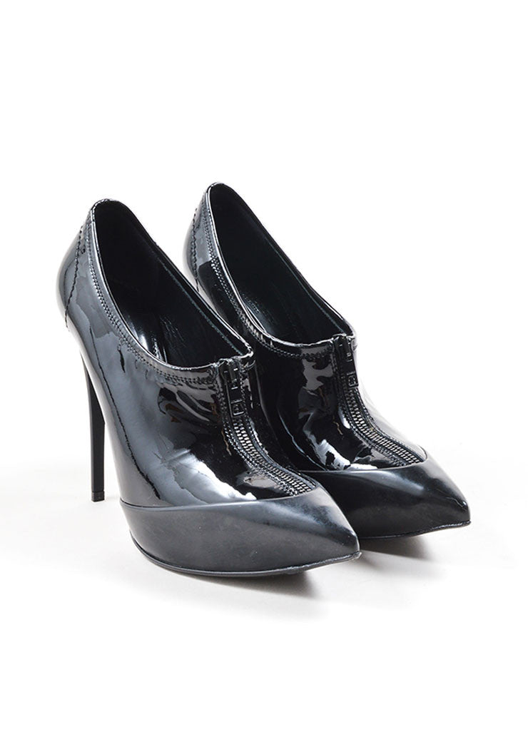 Burberry Prorsum Black Patent Leather Pointed Toe Zip Platform Booties Frontview