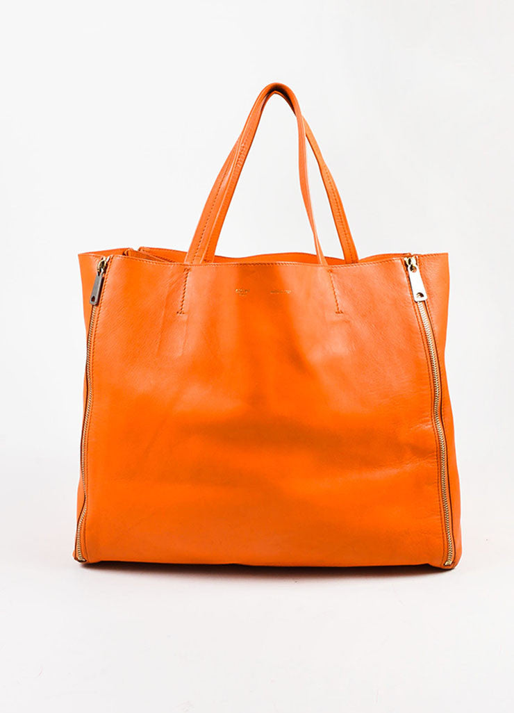 "Celine Orange Leather ""Horizontal Gusset Cabas"" Tote Bag Frontview"