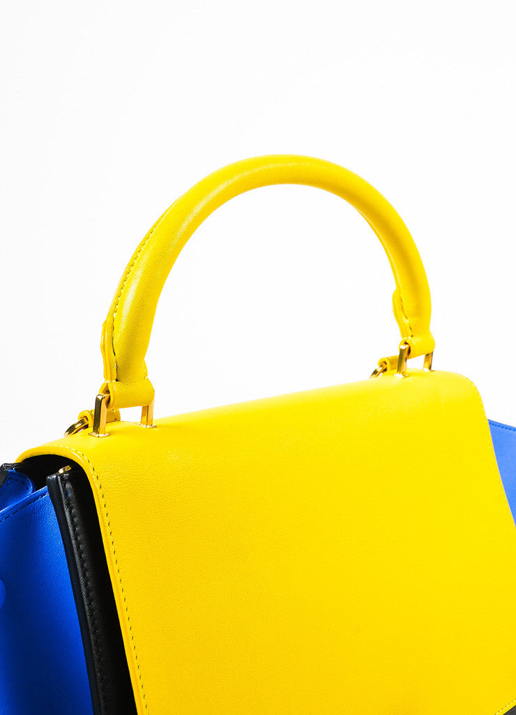 Celine Sunflower Yellow Black Blue Calfskin Leather Small Trapeze Bag Detail 3