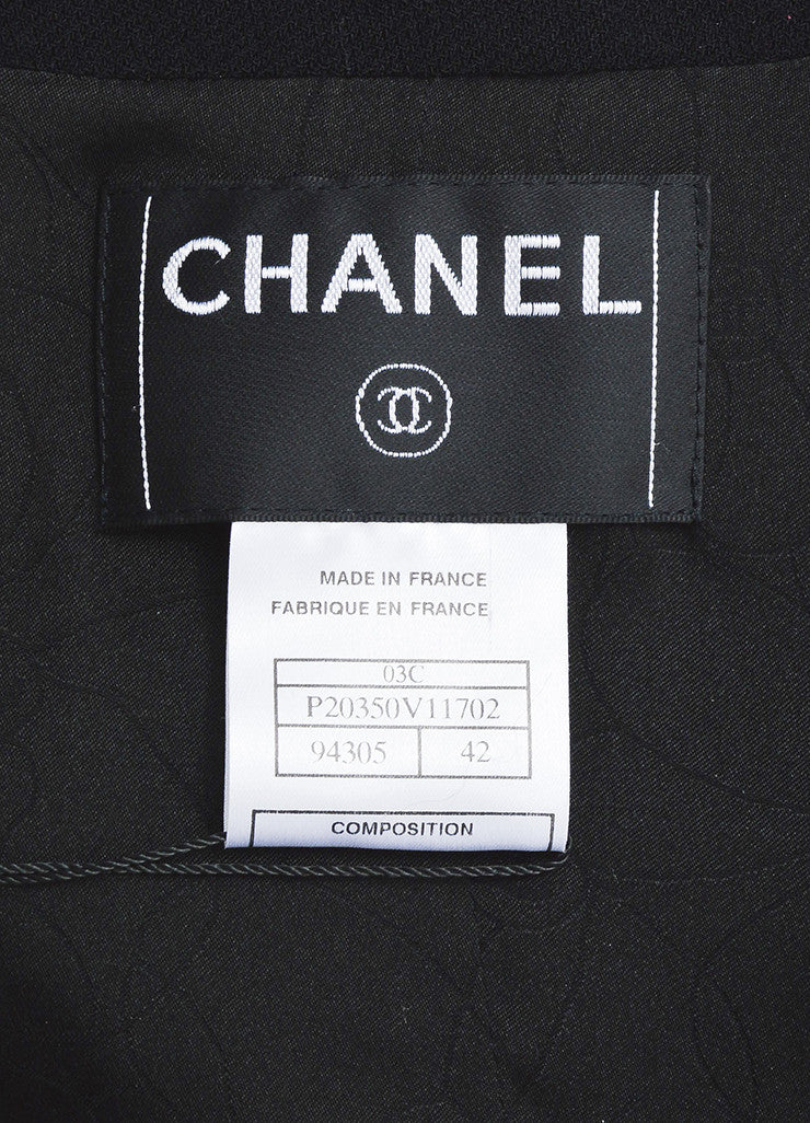 Black Chanel Wool Military Style Structured Cropped Blazer Jacket Brand
