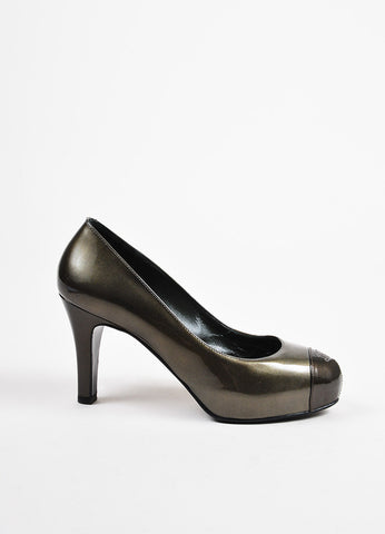 Silver Chanel Patent Leather 'CC' Cap Toe High Heel Pumps Side