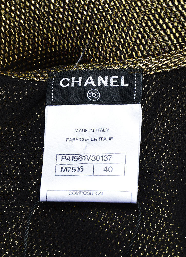 Black and Metallic Gold Chanel Pleated Elastic Hem Sleeveless Blouse Top Brand