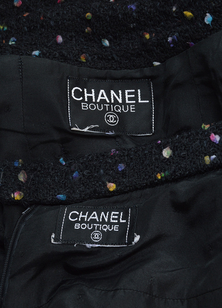 Chanel Black and Multicolor Speckled Tweed Jacket Pencil Skirt Suit Brand