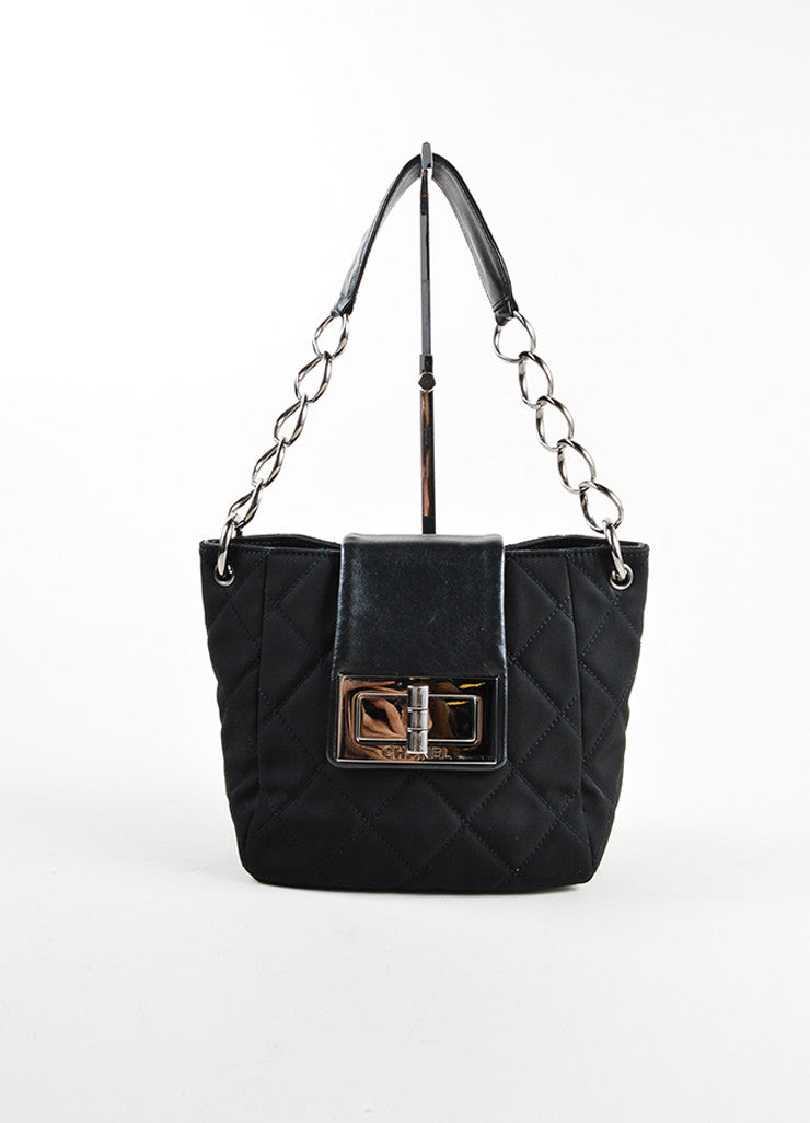 Chanel Black Quilted Nylon Leather Flap Turn Lock Chain Strap Bag Frontview