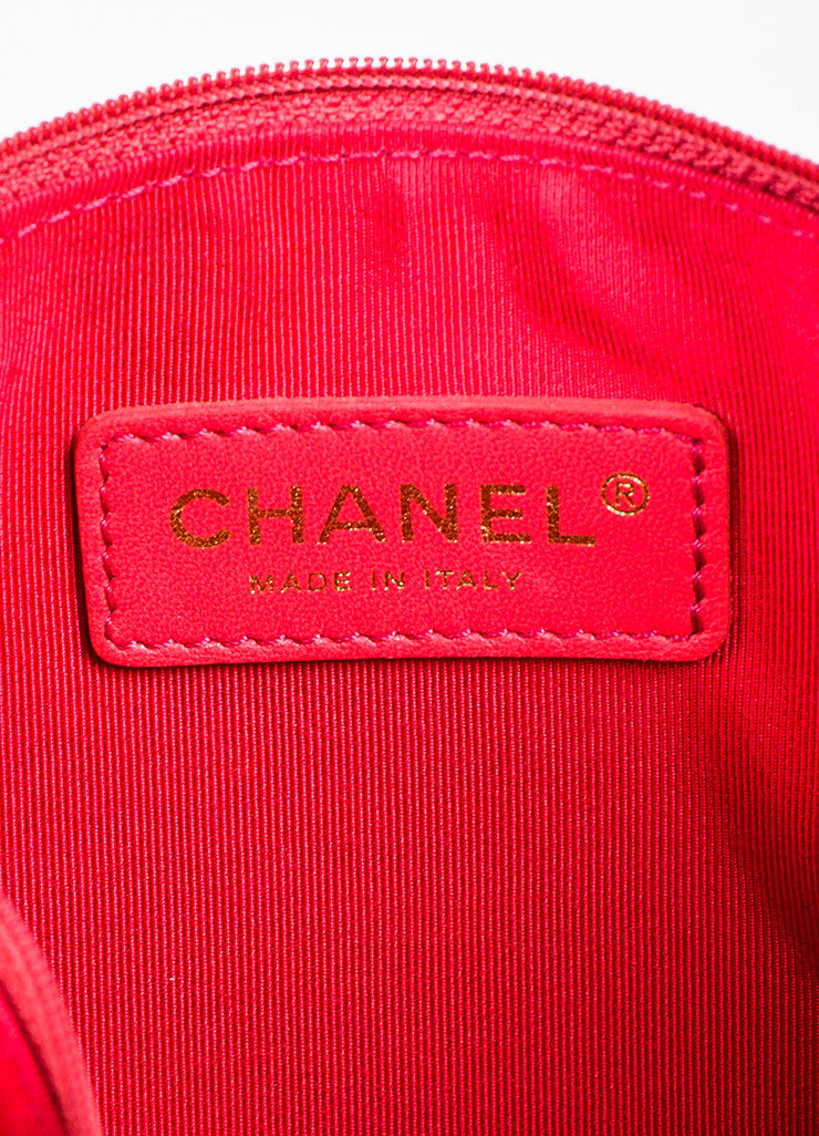 Chanel Dark Pink Patent Leather and PVC 'CC' Logo Beach Tote with Pouch Brand