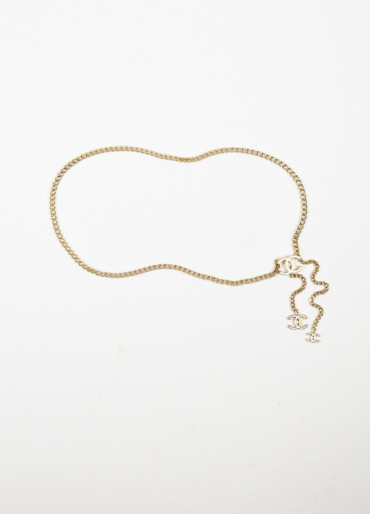 Chanel Gold Toned and White Chain Link 'CC' Medallion Belt Frontview