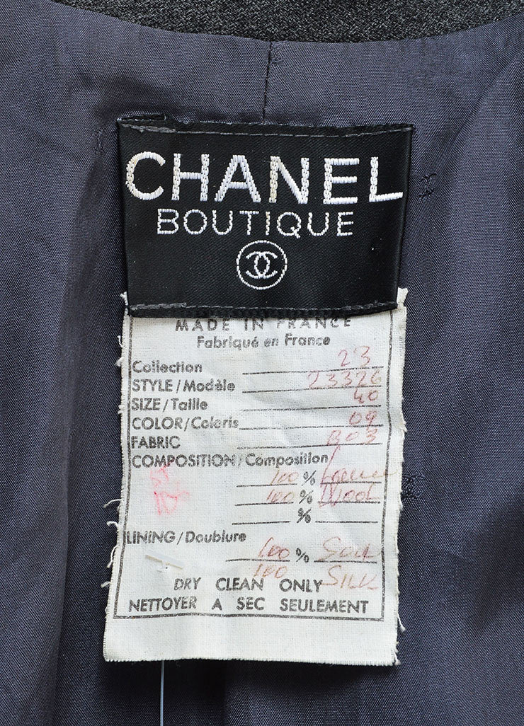 "Chanel Grey and Gold Toned Wool ""CC"" Button Wrap Knee Length Jacket Brand"
