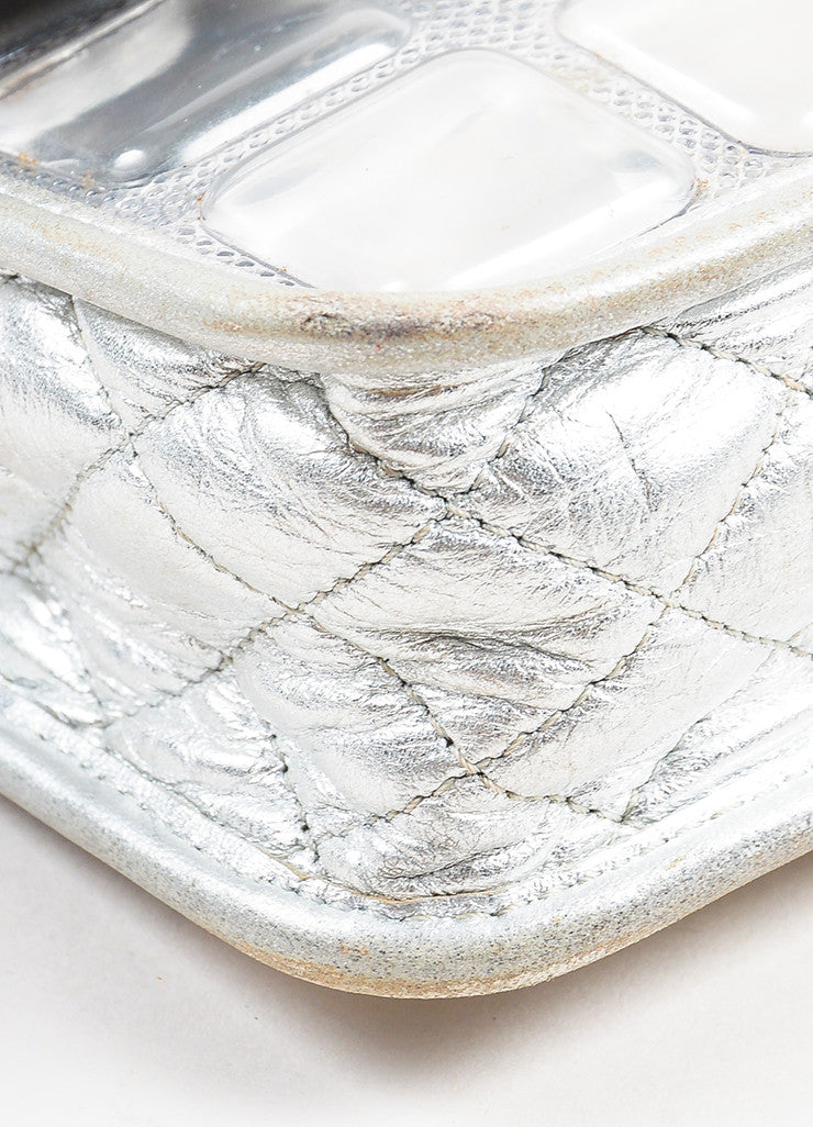 "Chanel Silver Metallic Leather Coated ""Ice Cube"" Classic Flap Shoulder Bag Detail"