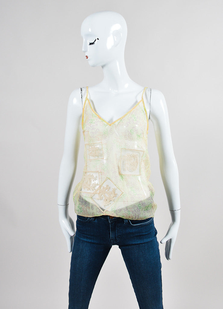 Yellow and Multicolor Chanel Silk Chiffon 'CC' Logo Print Sheer Tie Blouse Set Cami