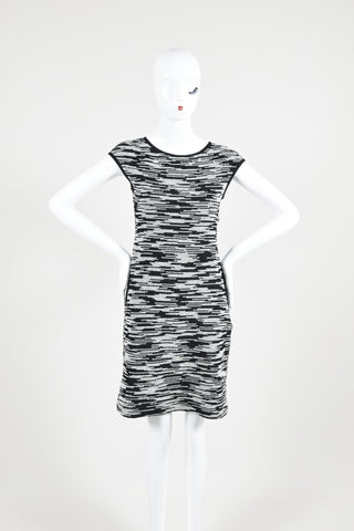 Black and White Derek Lam Cotton Tweed Cap Sleeve Sheath Dress Frontview