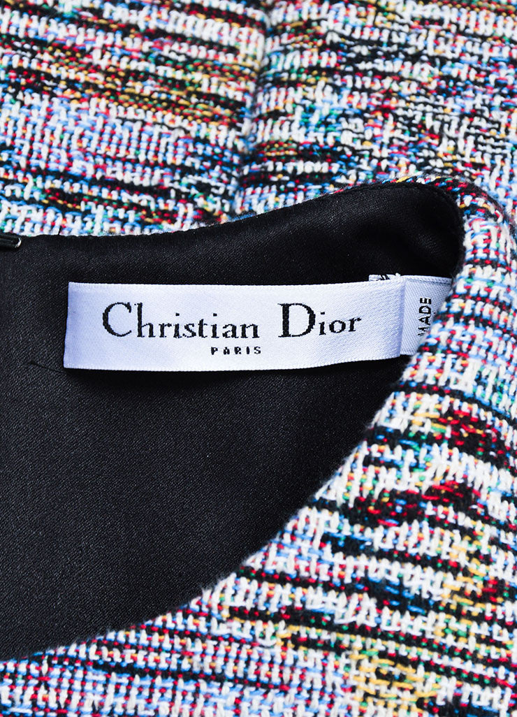 Multicolor Christian Dior Woven Tweed Fringe Sleeveless Dress Brand