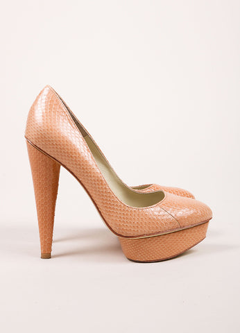"Elizabeth and James ""Blush"" Pink Snake Embossed Leather ""Mason"" Pumps Sideview"