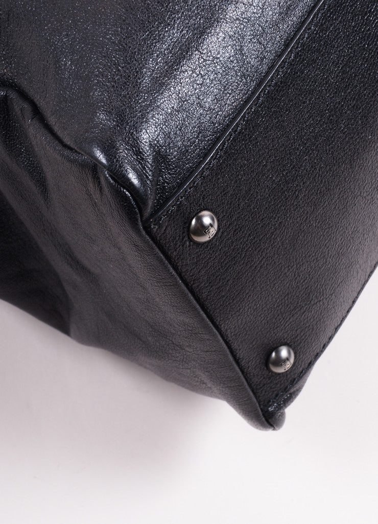 "Fendi Black Kid Leather ""Peekaboo"" Shoulder Strap Tote Bag Detail"